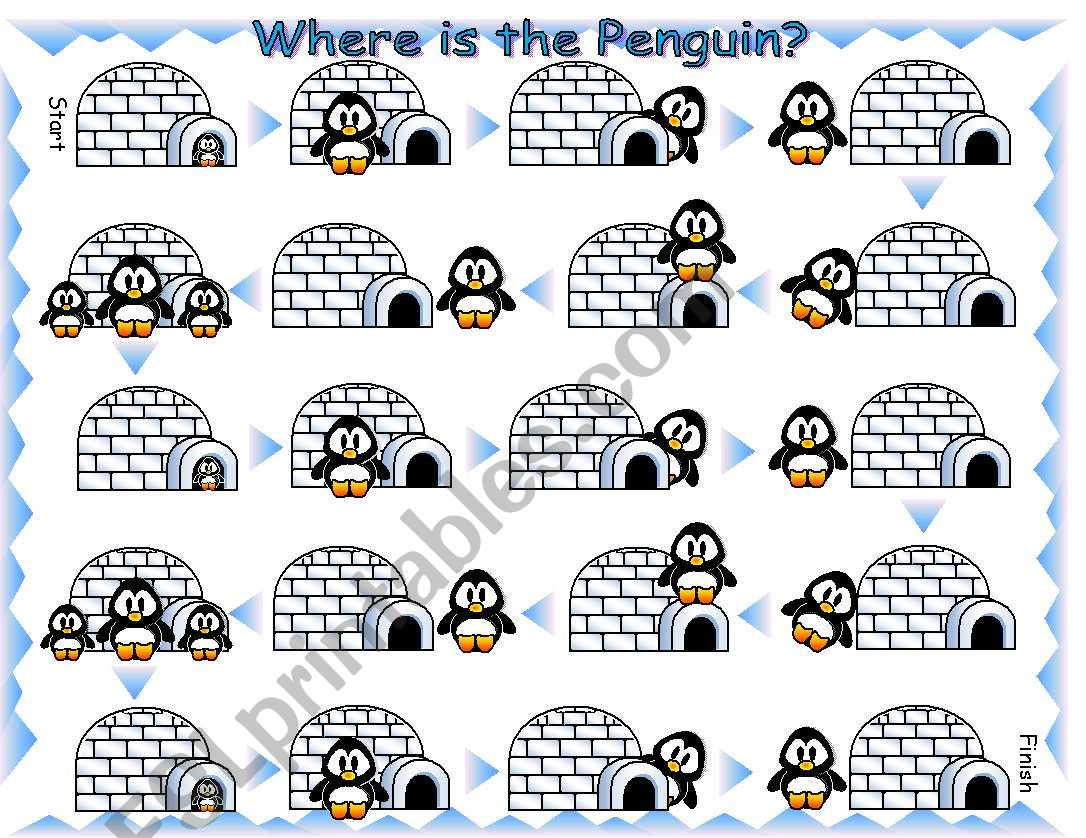 Where Is The Penguin Preposition Board Game With Dice And