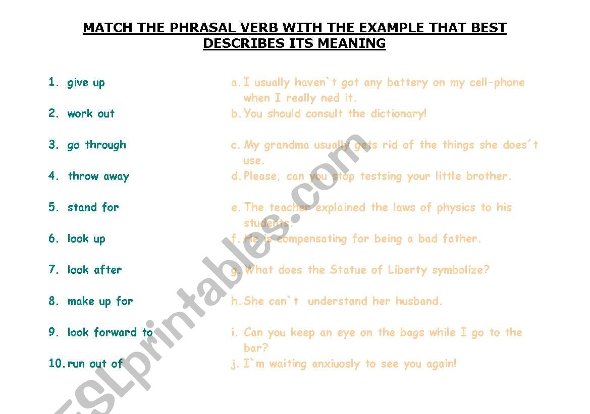 English Worksheets Match The Phrasal Verb With Its Definition