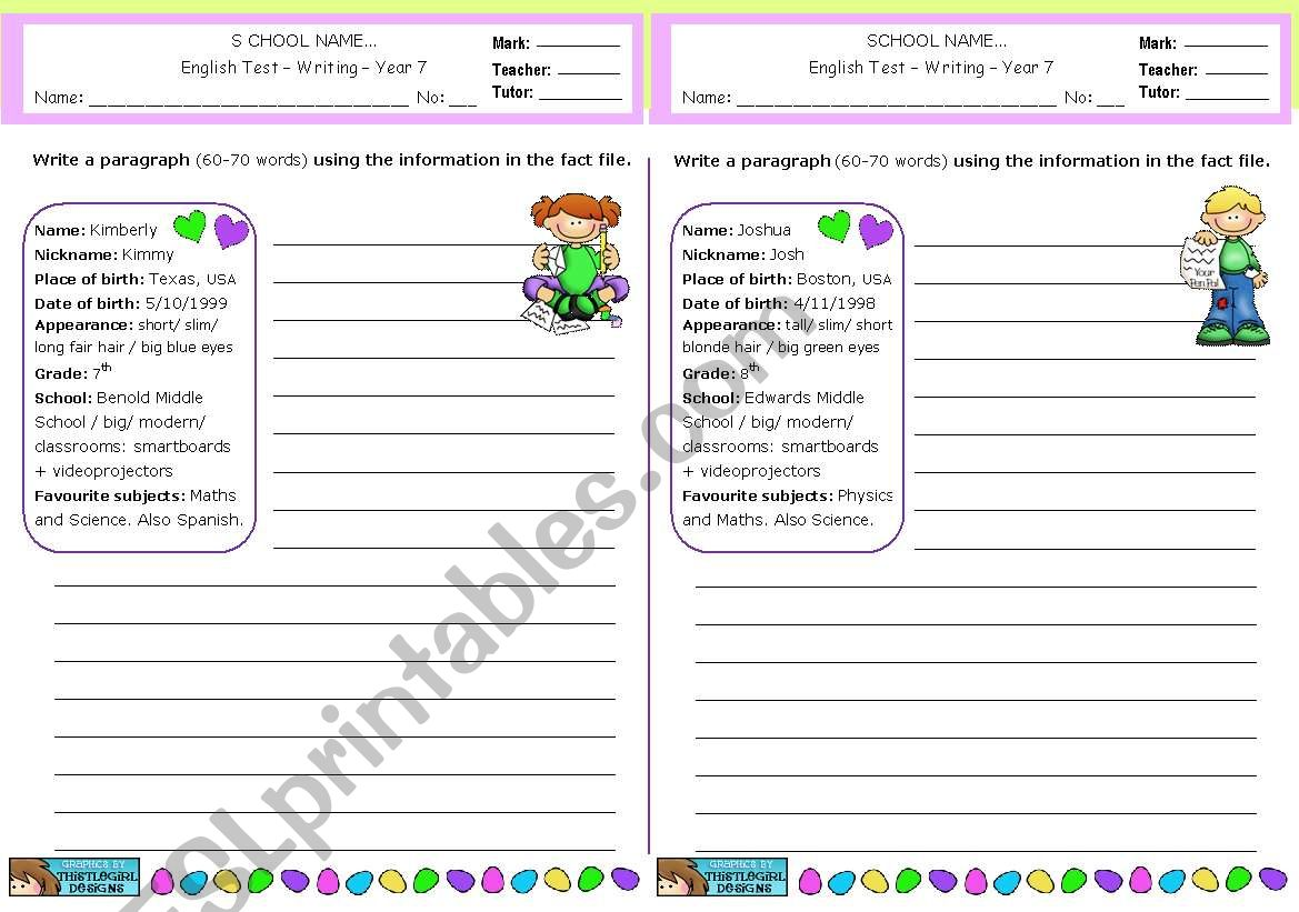 Writing A Paragraph Using Personal Information From A