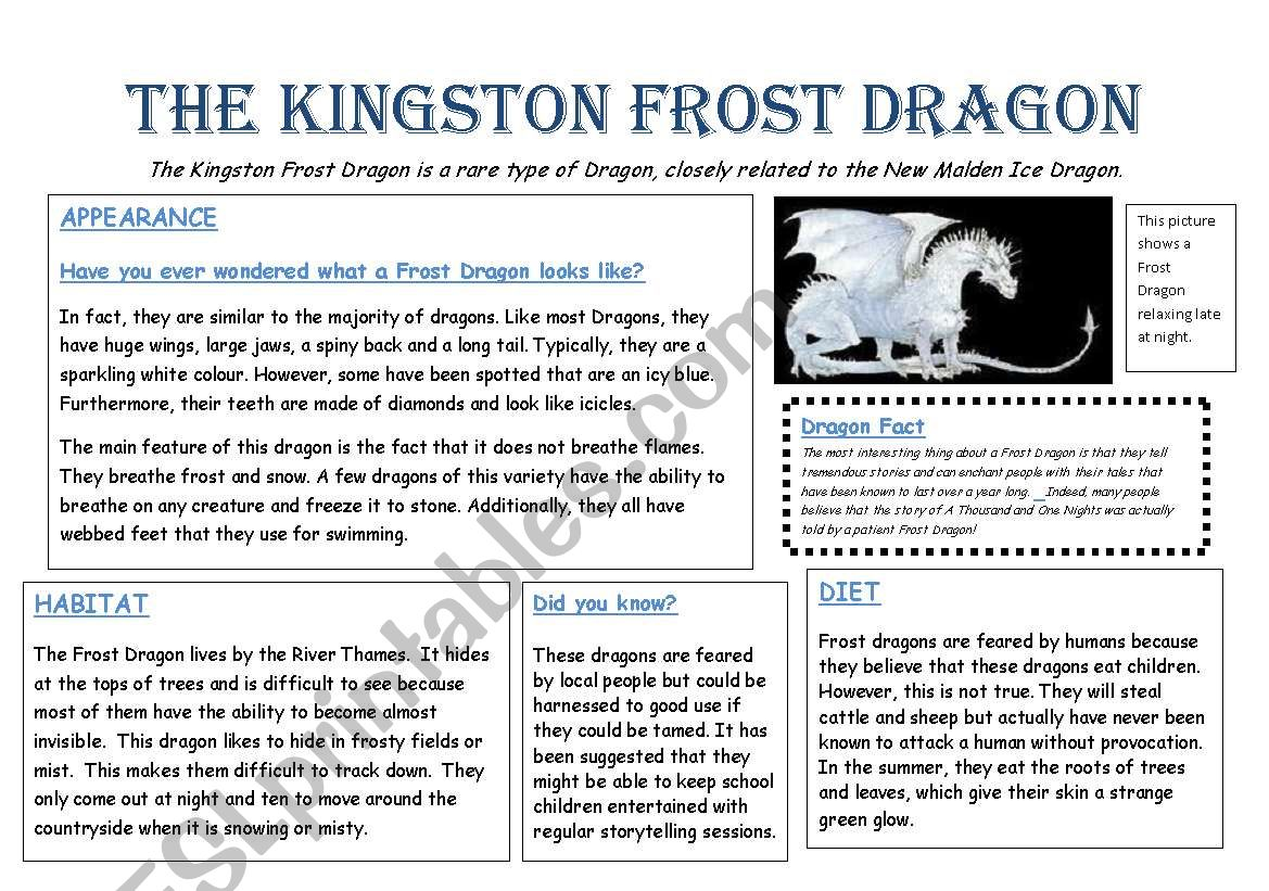 English Worksheets Kingston Frost Dragon