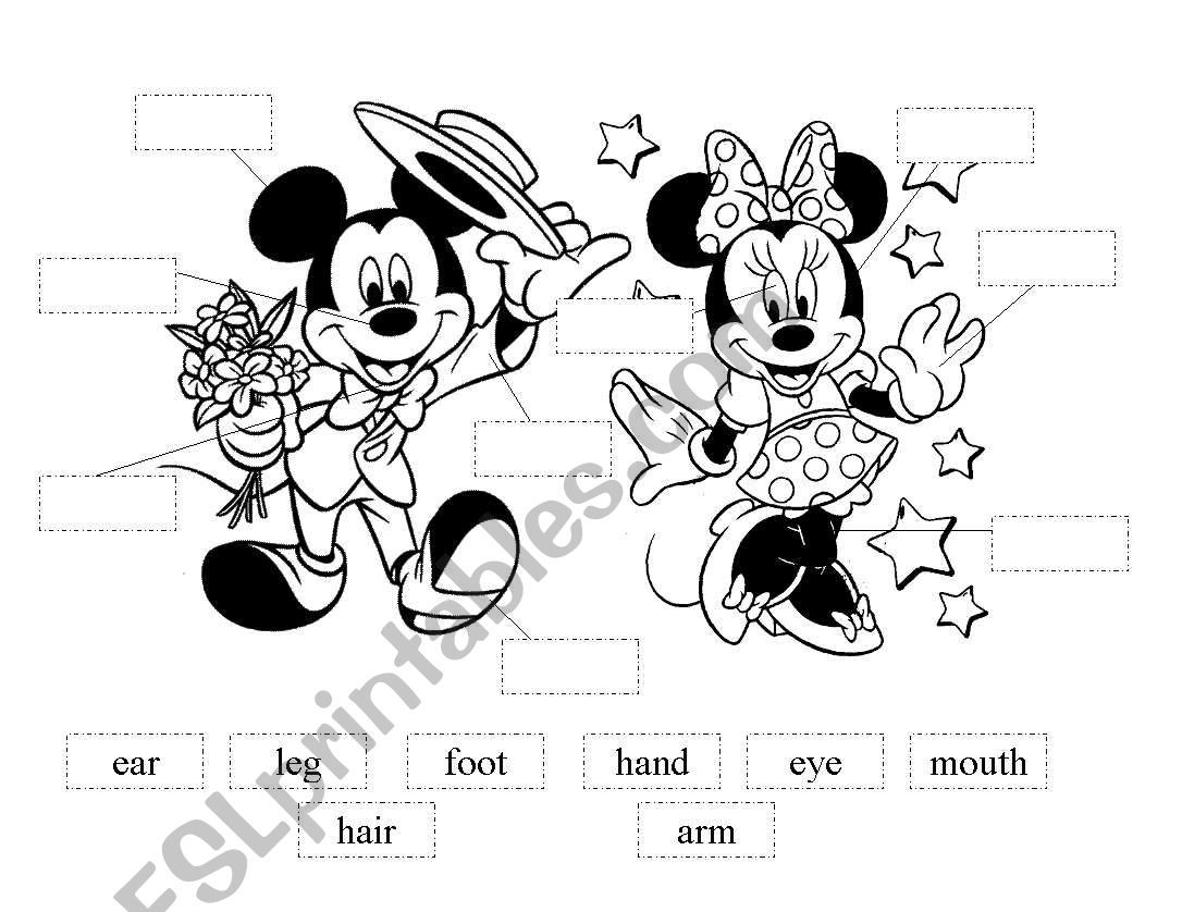 Mickey And Minnie Cut And Paste Body Parts