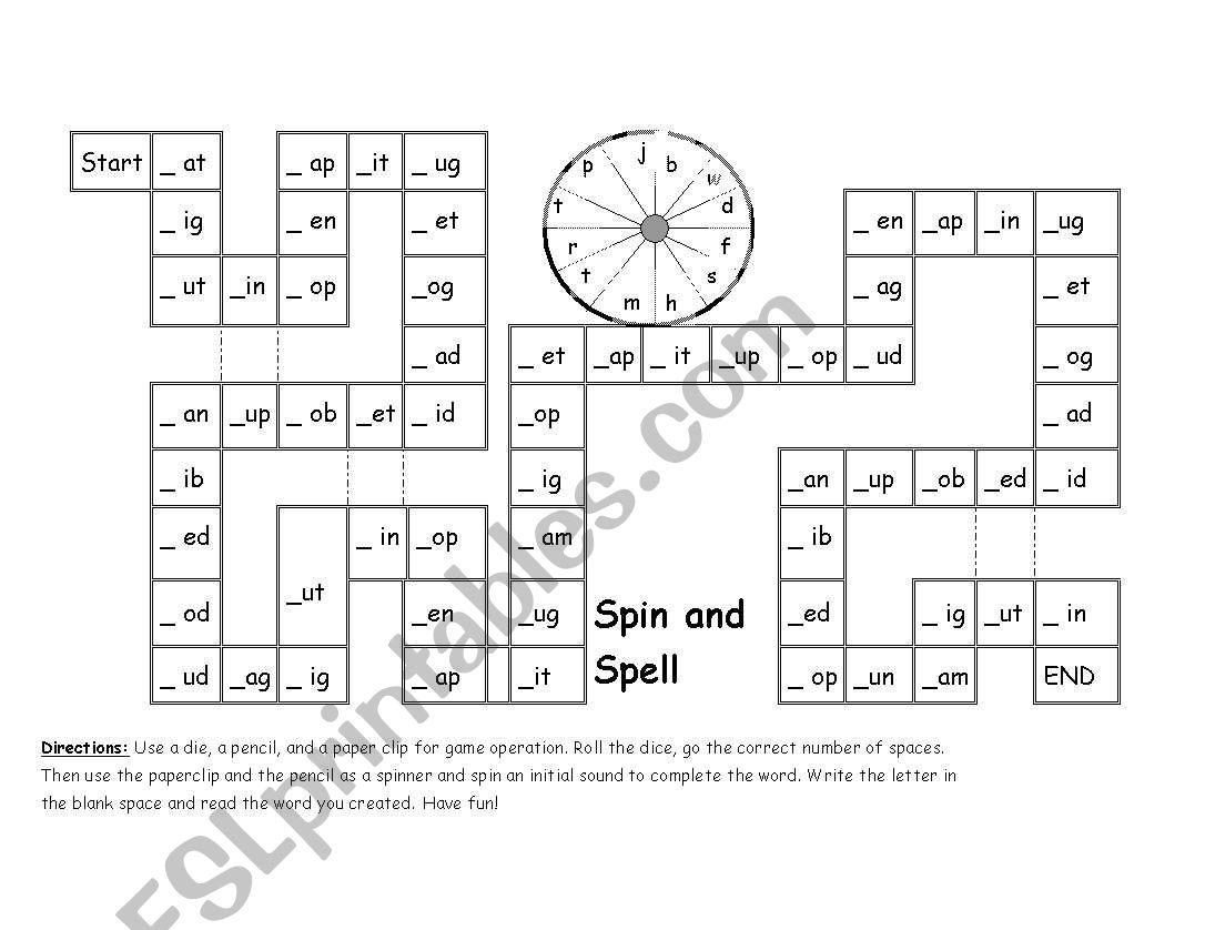English Worksheets Phonics Spin Amp Spell Game