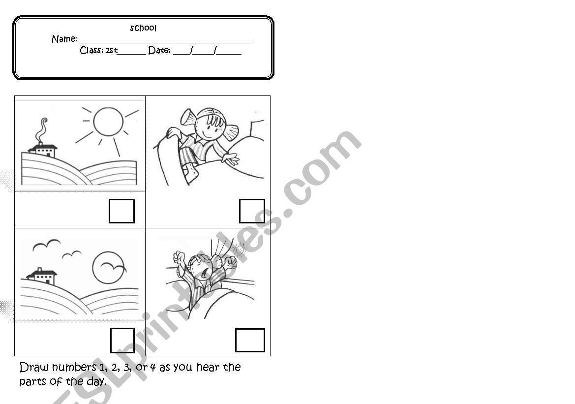 English Worksheets Greetings Parts Of The Day