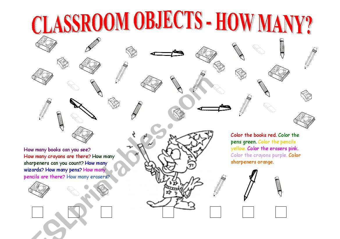 Classroom Objects Colors How Many Numbers 1 10