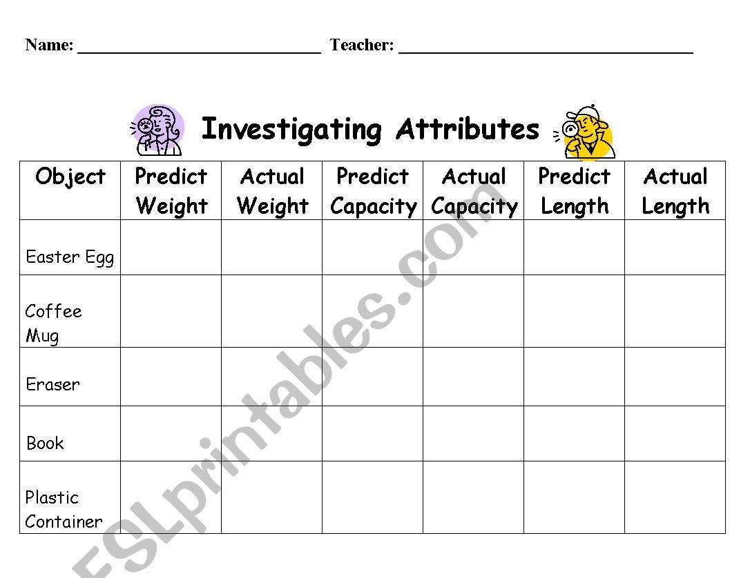 English Worksheets Shape Attributes Properties