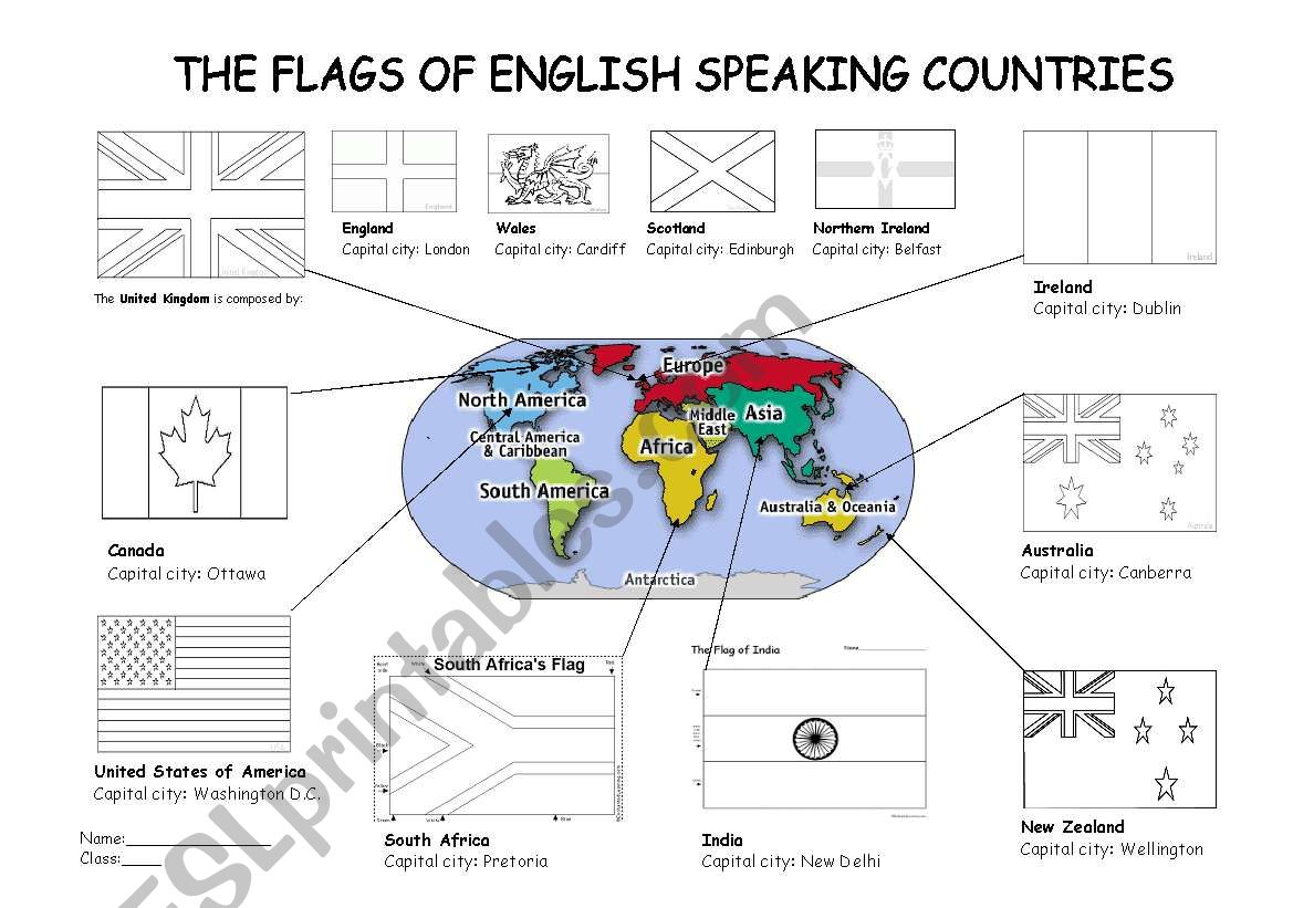 Colouring Flags Of English Speaking Countries
