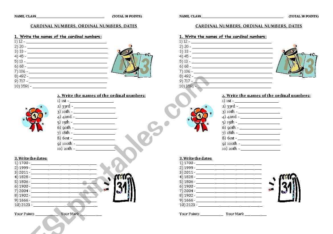 Cardinal And Ordinal Adjectives Worksheets For Grade 2