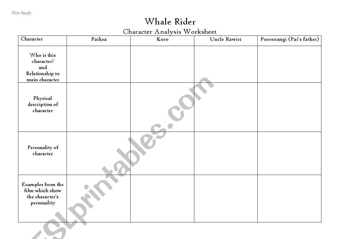 English Worksheets Whale Rider Characterysis Table