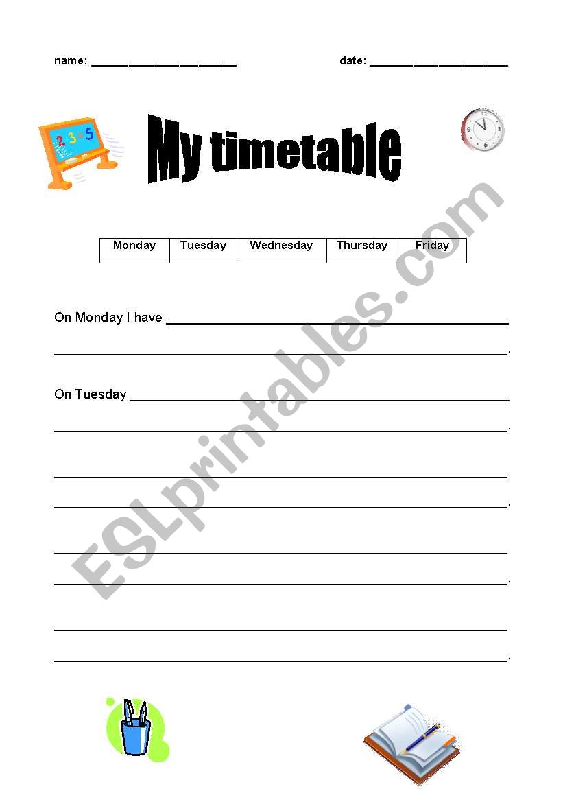 English Worksheets My Timetable