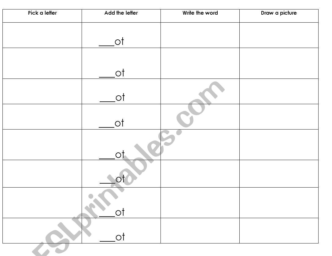 English Worksheets Ight Word Family