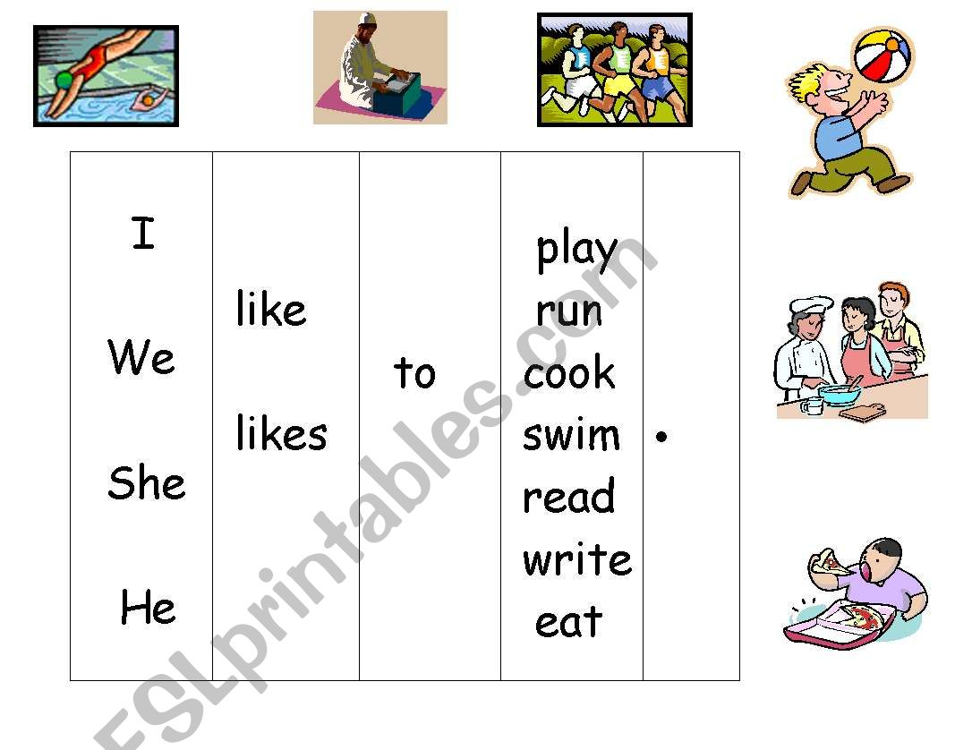 English Worksheets Sentence Scaffold