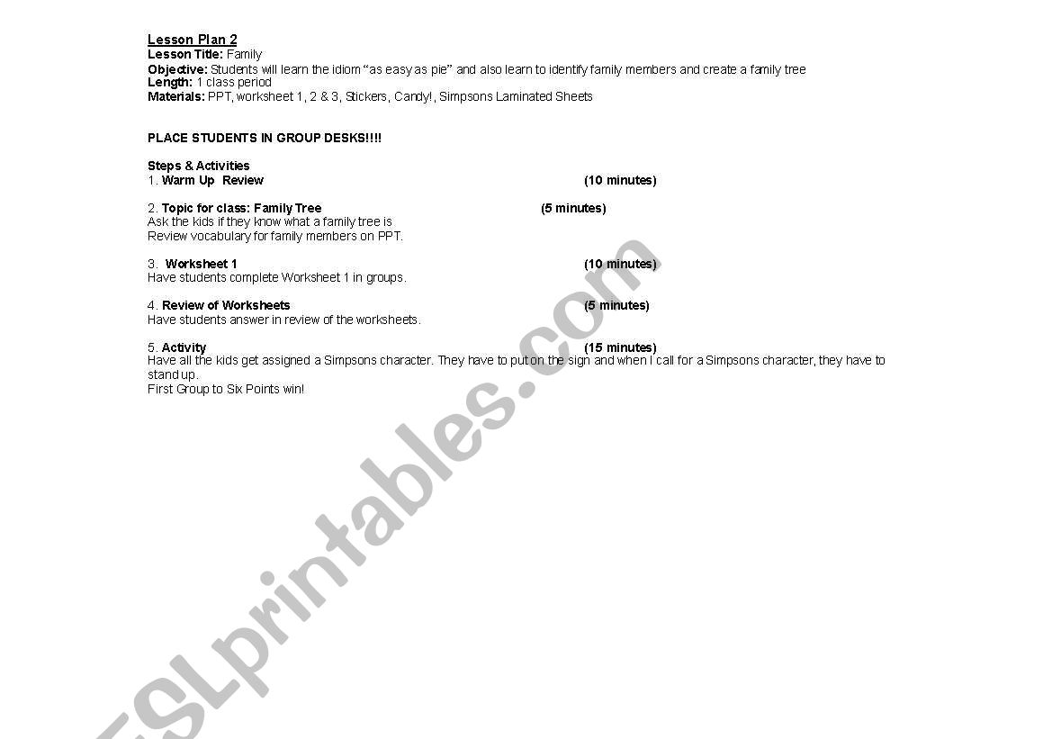 Lesson Plan Handout Amp Worksheets For Family Tree Lesson