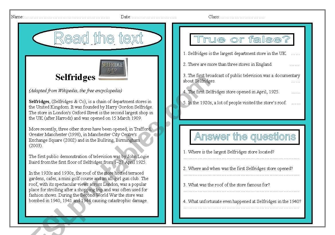 Reading Comprehension Selfridges Stores