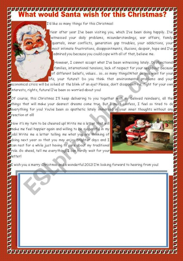 WRITING A LETTER TO SANTA- WHAT WOULD SANTA WISH FOR THIS
