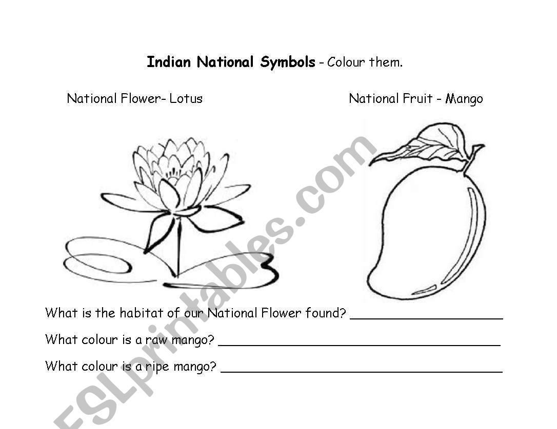 English Worksheets Indian National Symbols