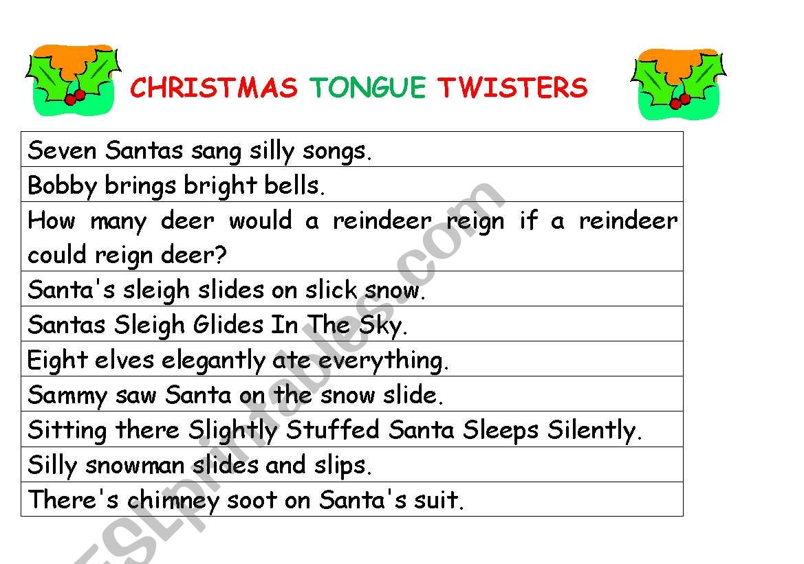 Christmas Tongue Twisters