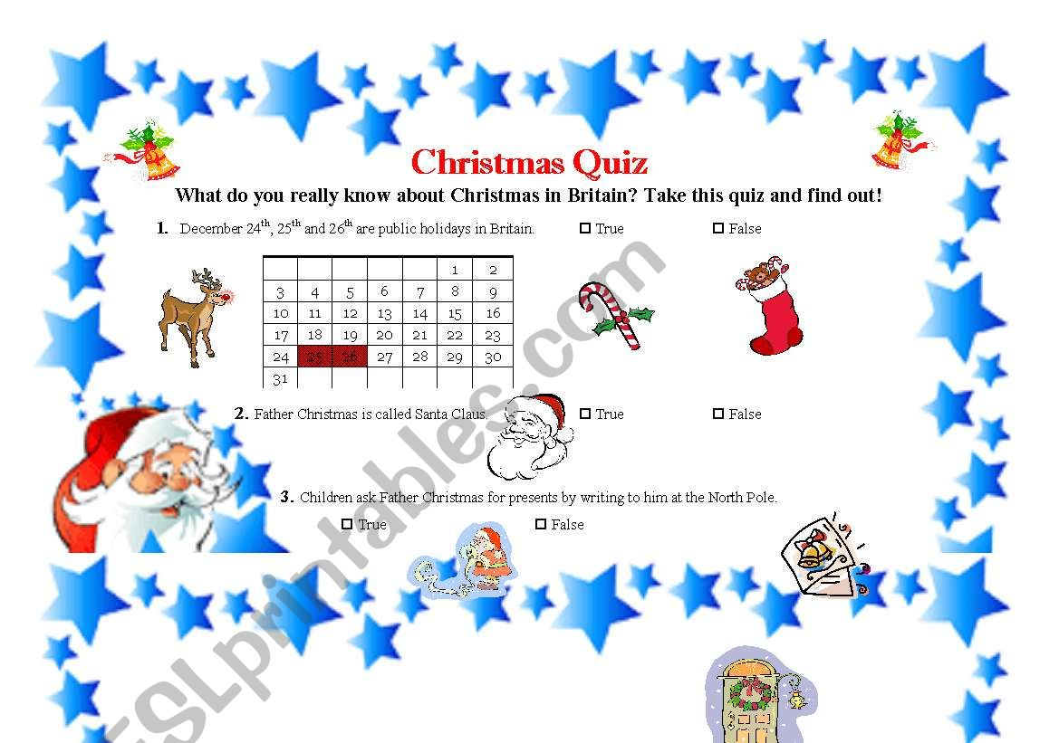English Worksheets Christmas Quiz