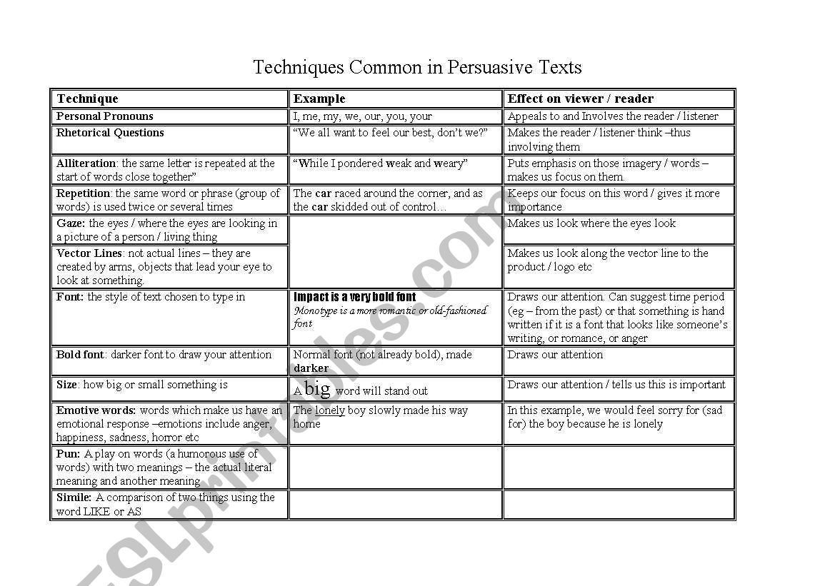 Persuasive Techniques Worksheet