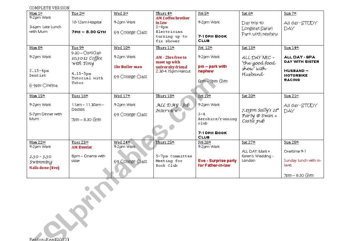 Monthly Diary Pair Task