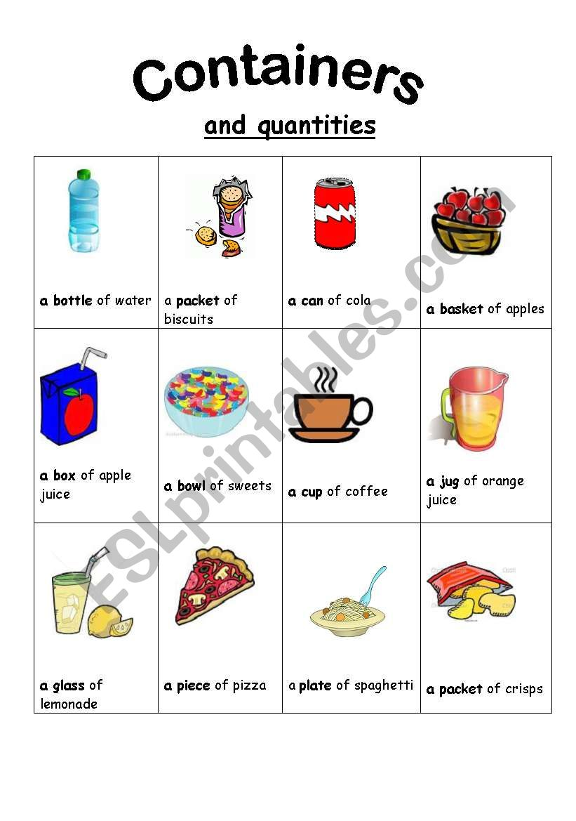 English Worksheets Containers And Quantifiers