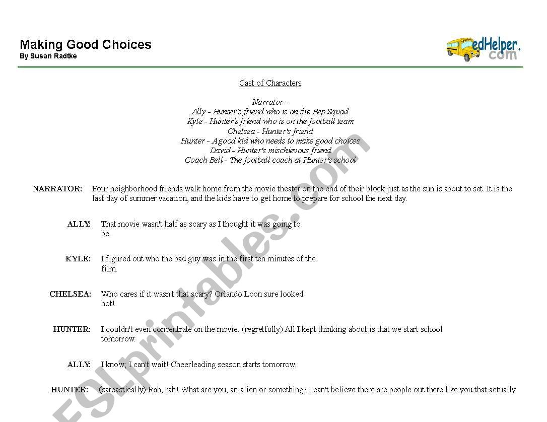English Worksheets Making Good Choices Readers Theater