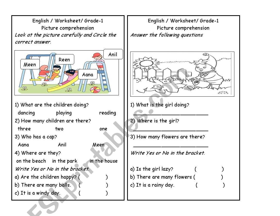 English Worksheets Picture Comprehension Part 2