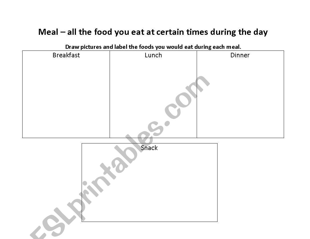 English Worksheets Three Meals In A Day