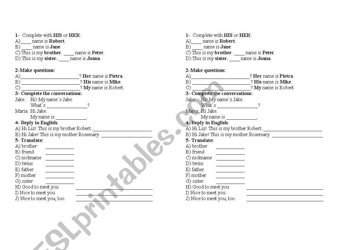 English Worksheets 6th Grade Pronouns His Her Exercises