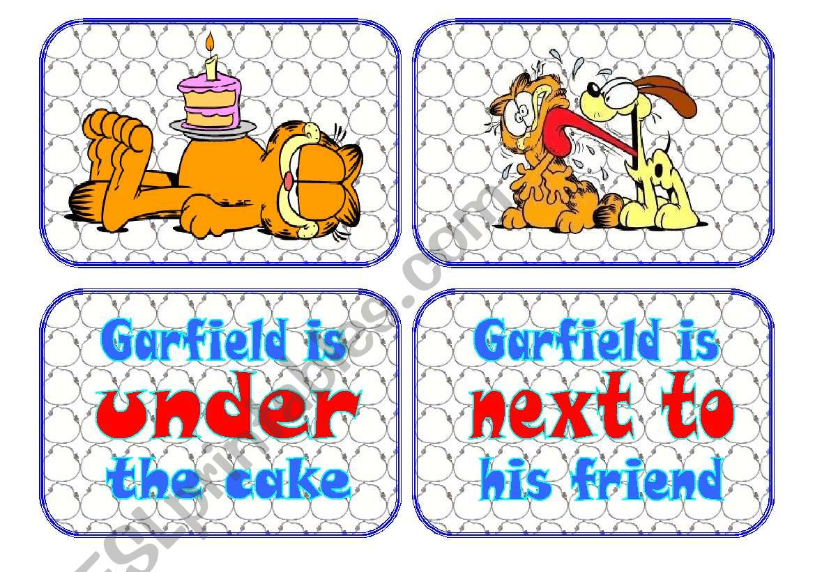 Prepositions Flascards With Garfield The Cat