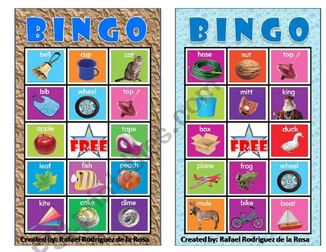 Vowels Bingo 1 Six Cards