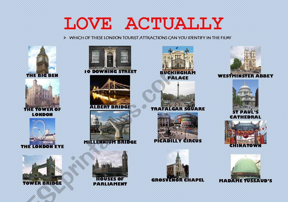 Love Actually London Tourist Attractions Movie