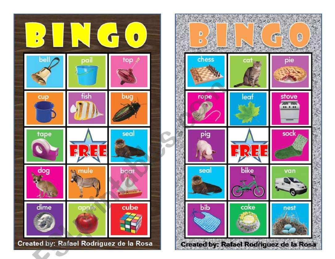 Vowels Bingo 2 Six Cards