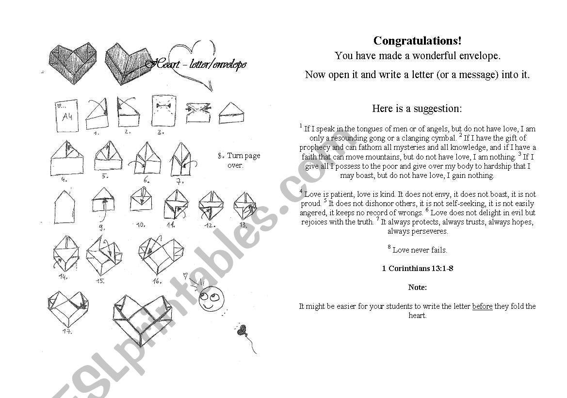 English Worksheets Heart Letter Envelope