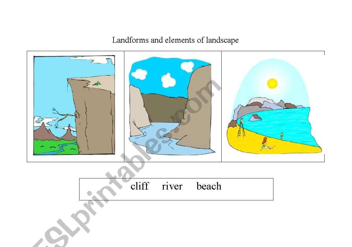 English Worksheets Landforms And Elements Of Landscape