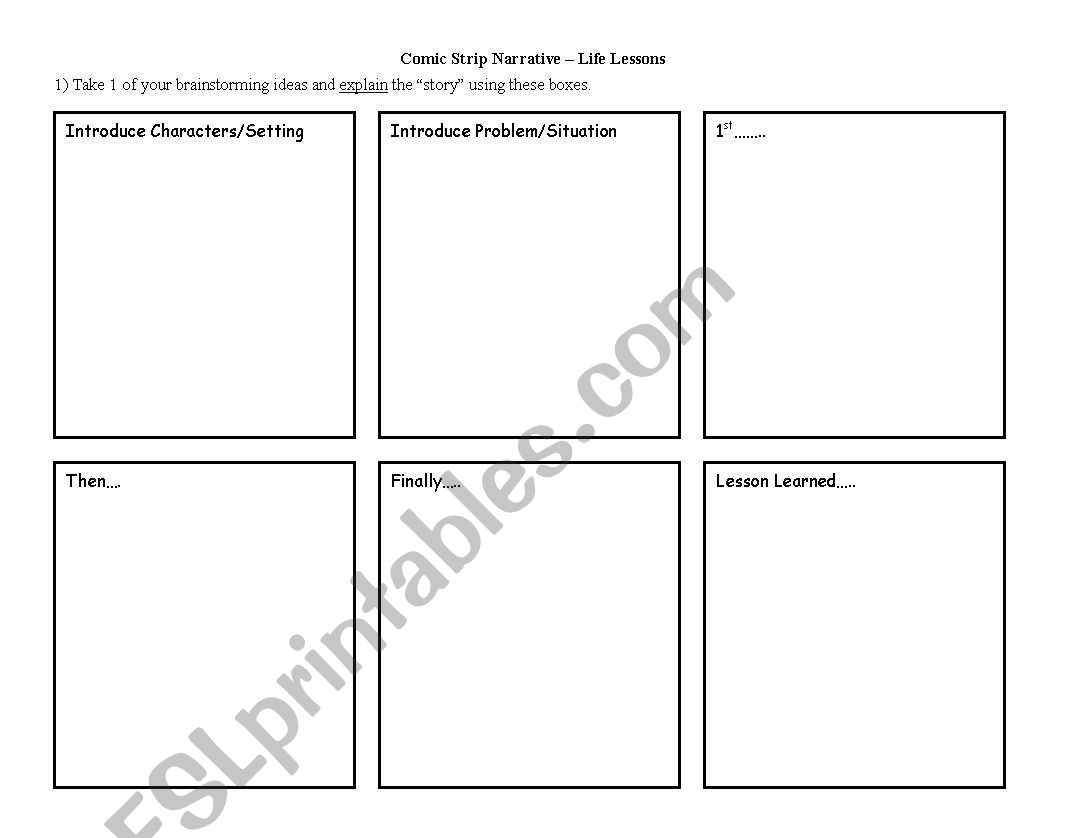 English Worksheets Narrative Brainstorming