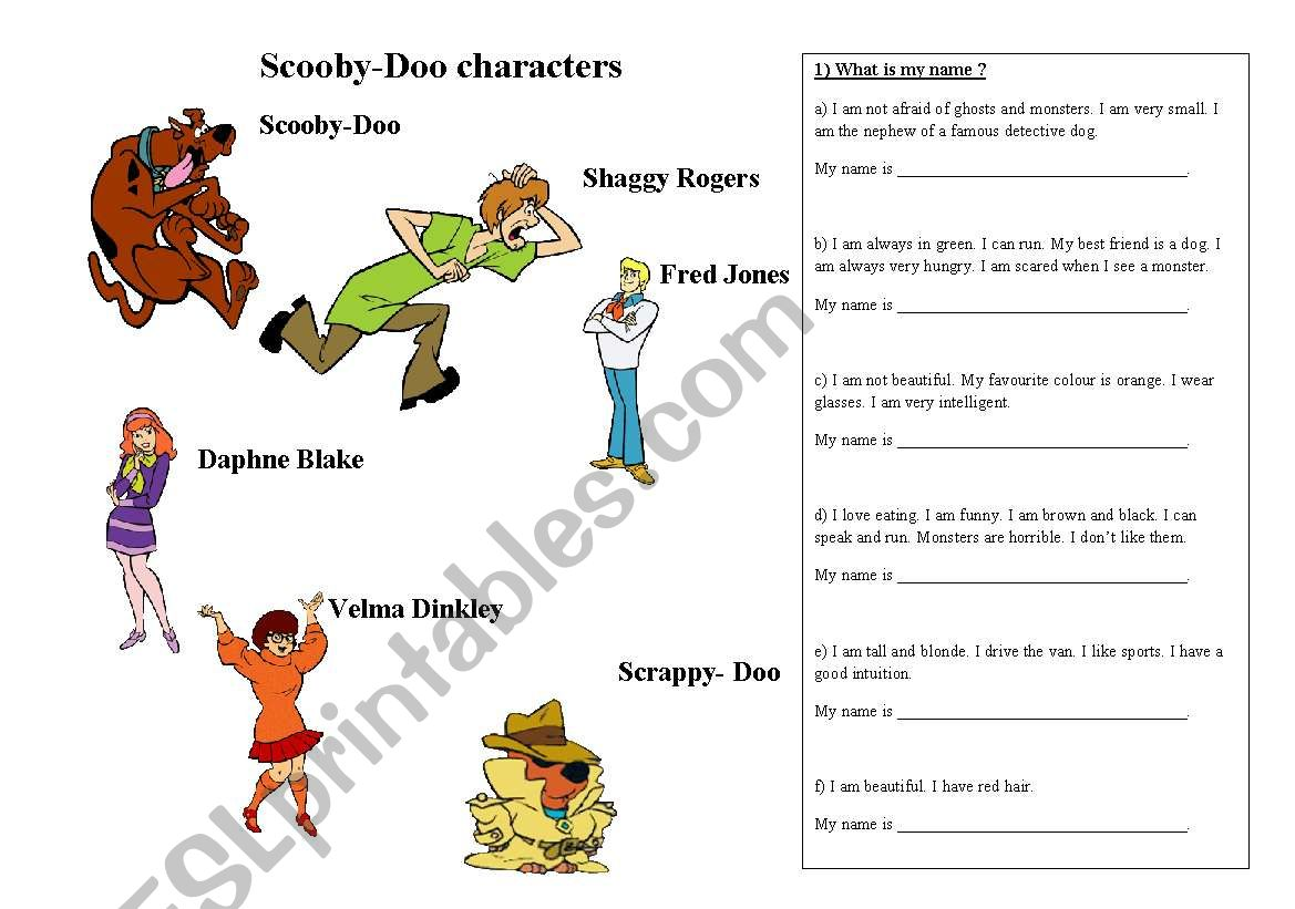 English Worksheets Scooby Doo Characters