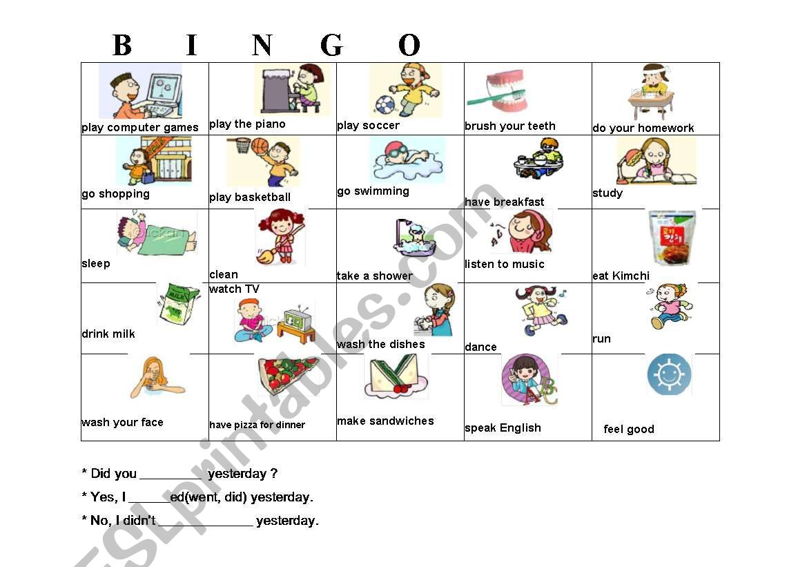 English Worksheets Daily Routines Bingo Cards