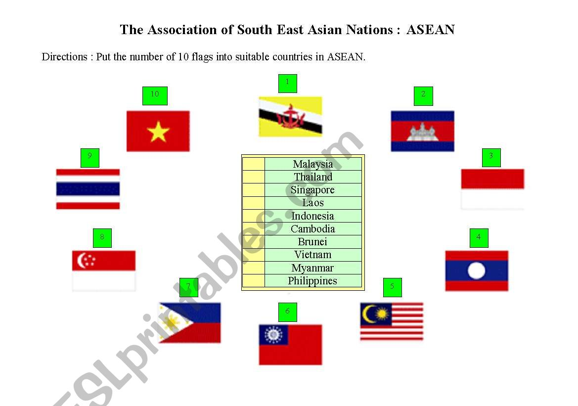 English Worksheets The Association Of South East Asian