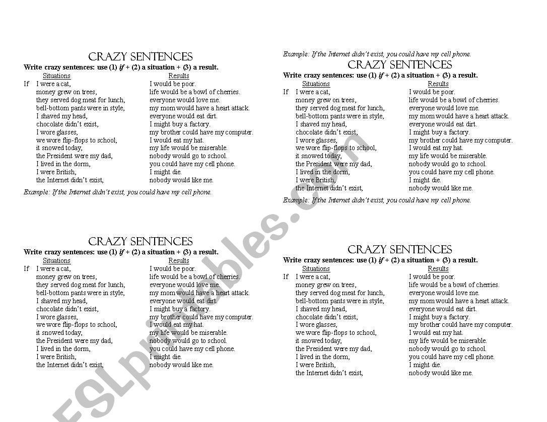 Second Conditional Crazy Sentences