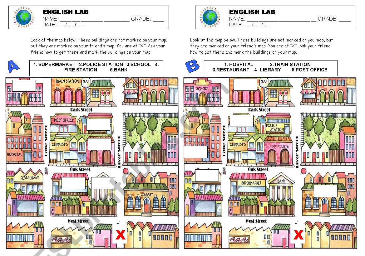 English Worksheets Giving Directions Map
