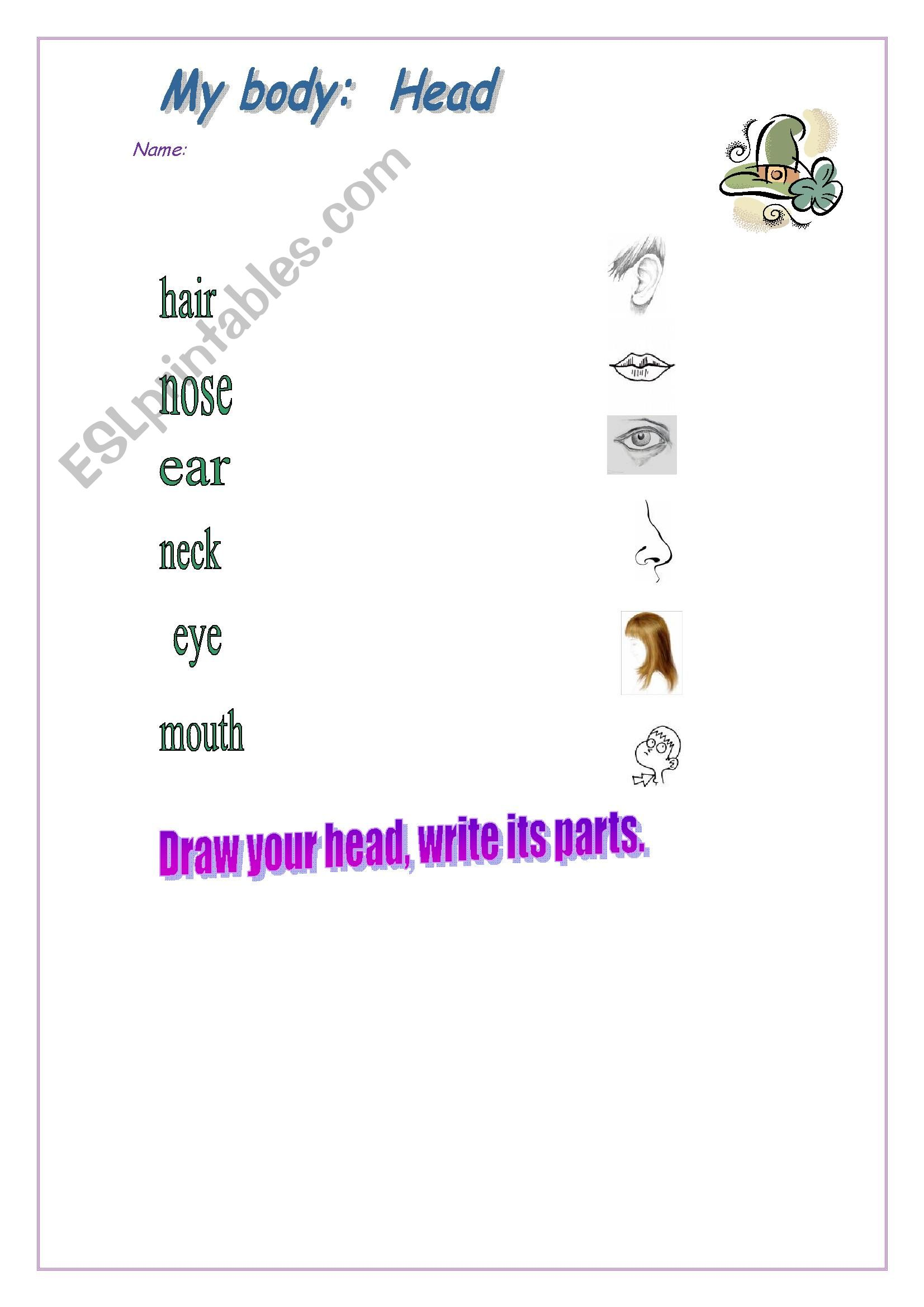 English Worksheets Parts Of The Body Head