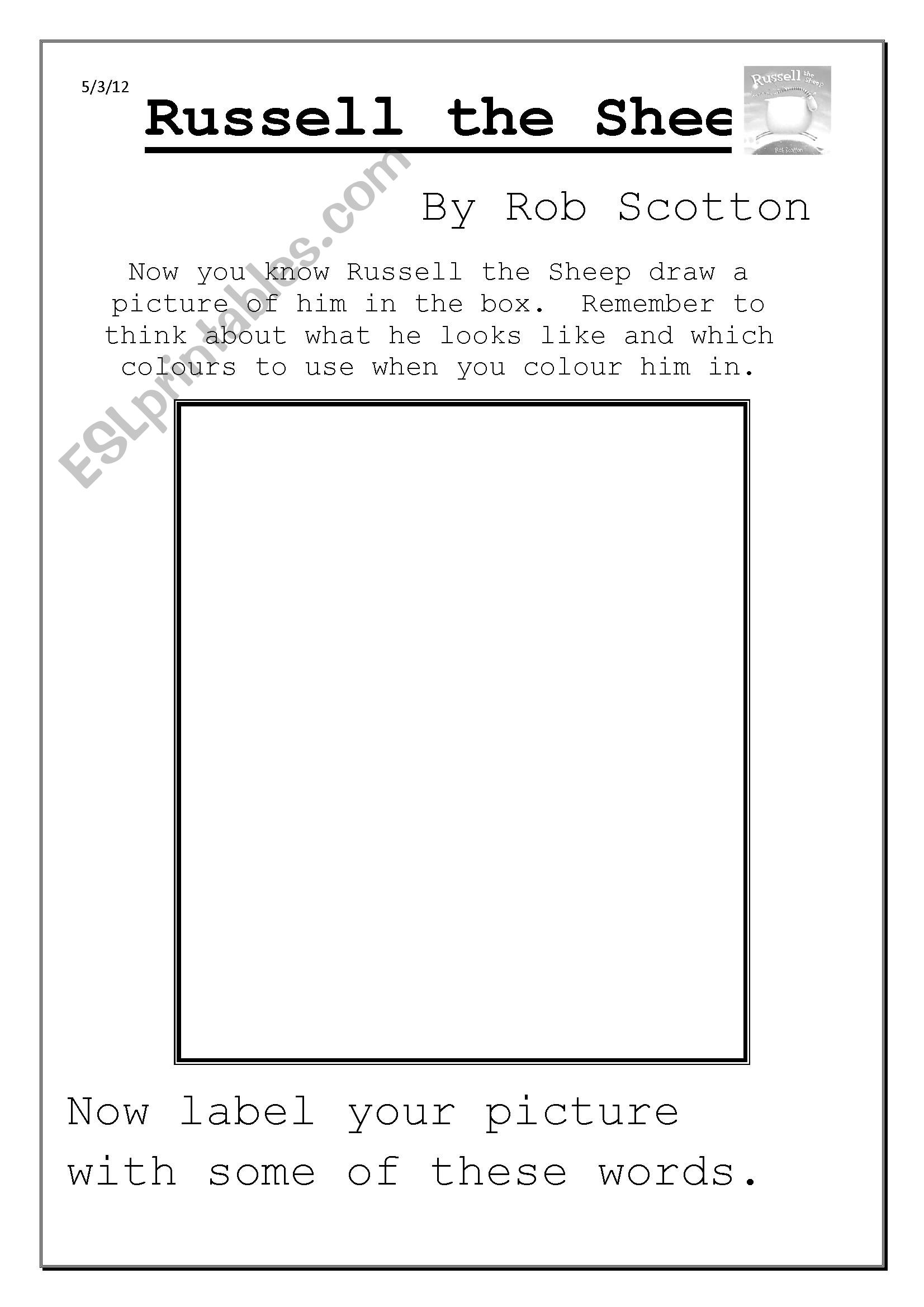 English Worksheets Russell The Sheep Character Description