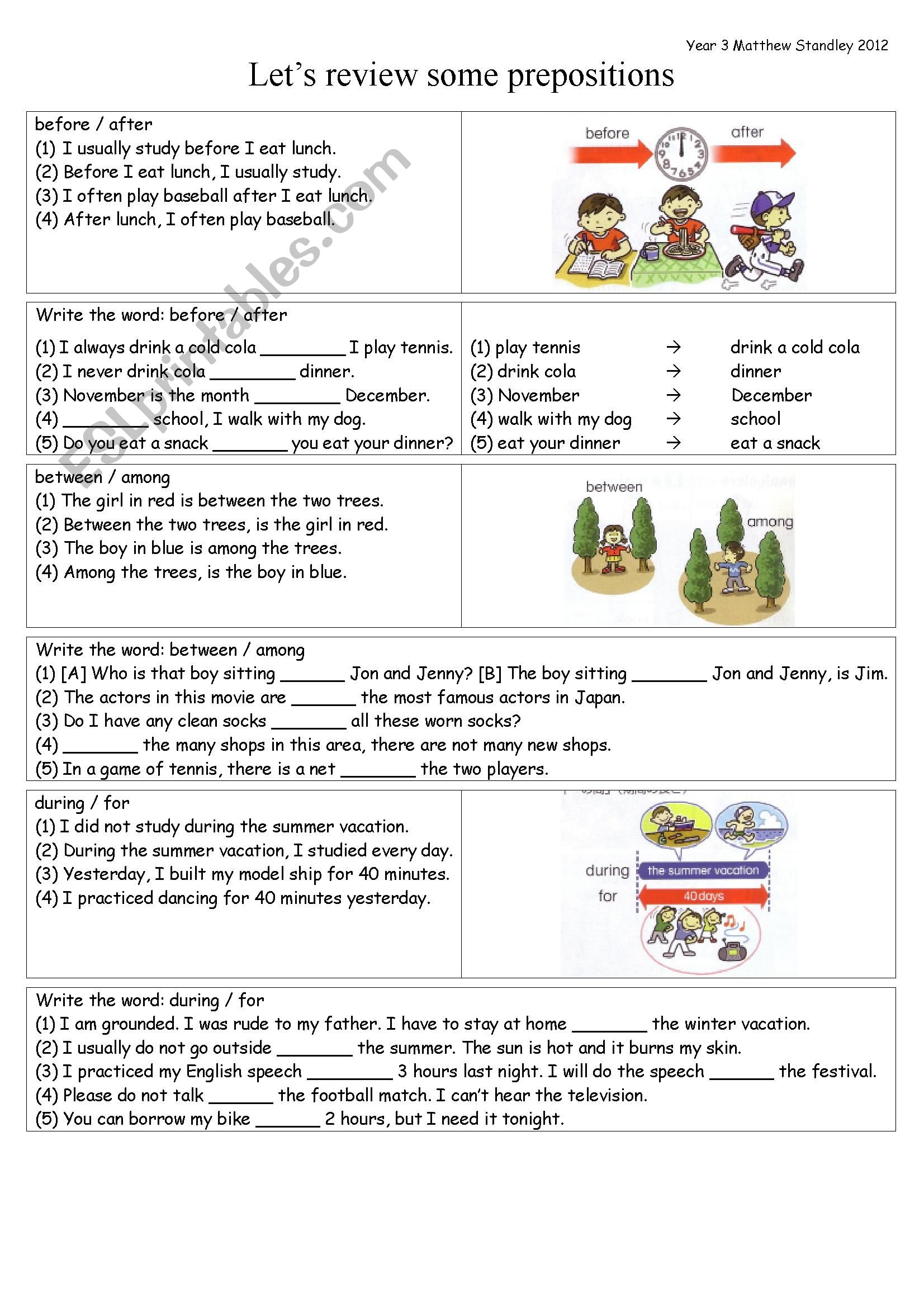 Prepositions Review Before After Between Among During For