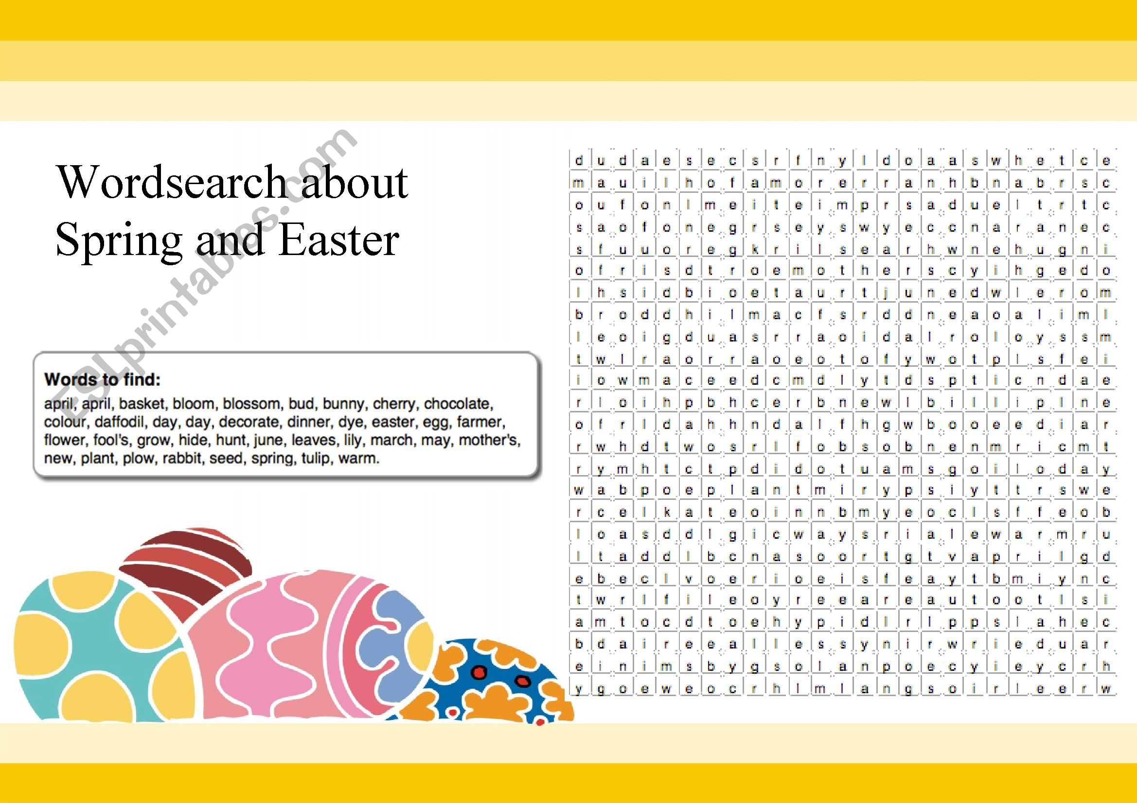 Spring And Easter Word Search