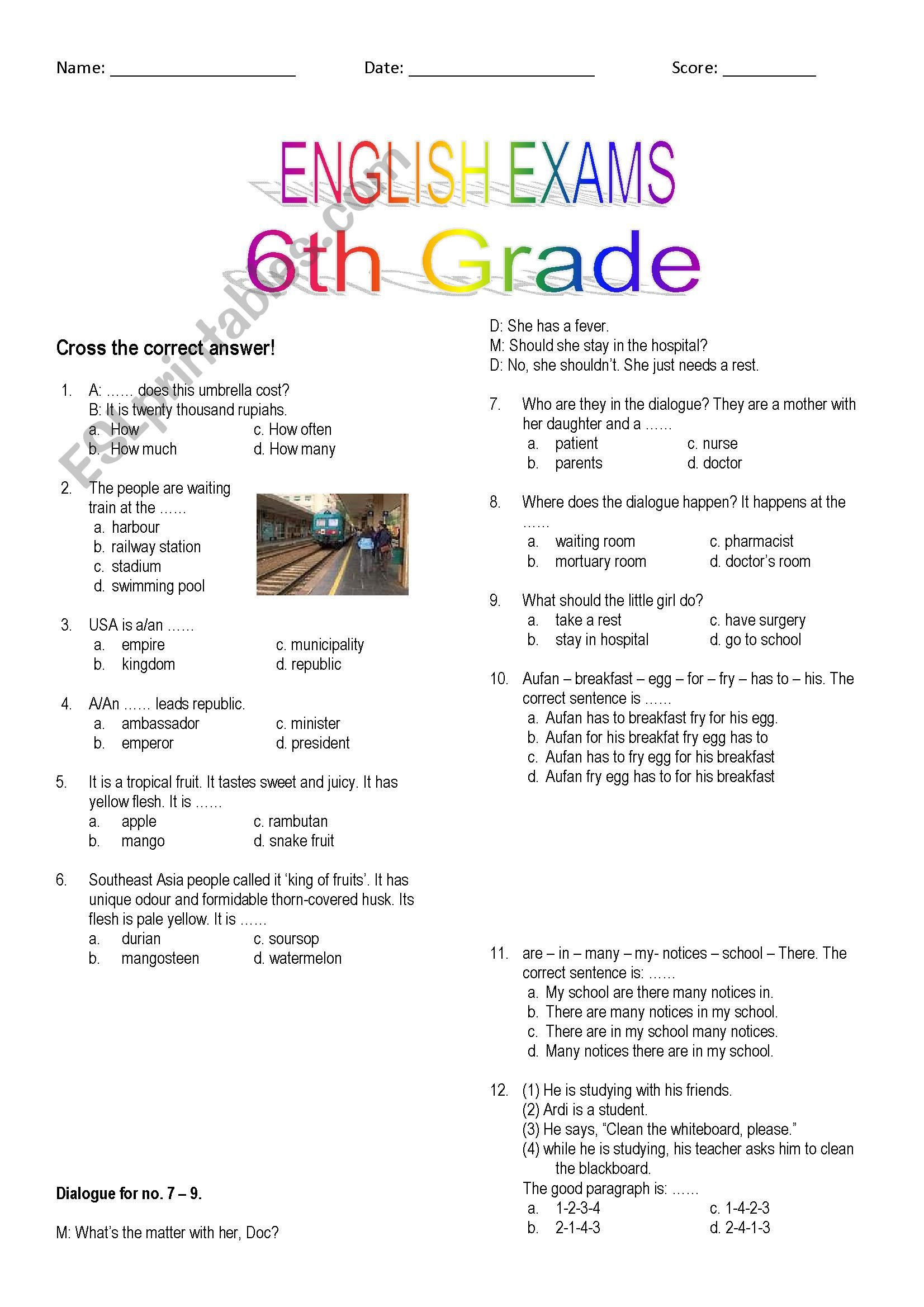 English Worksheets 6th Grade Exam