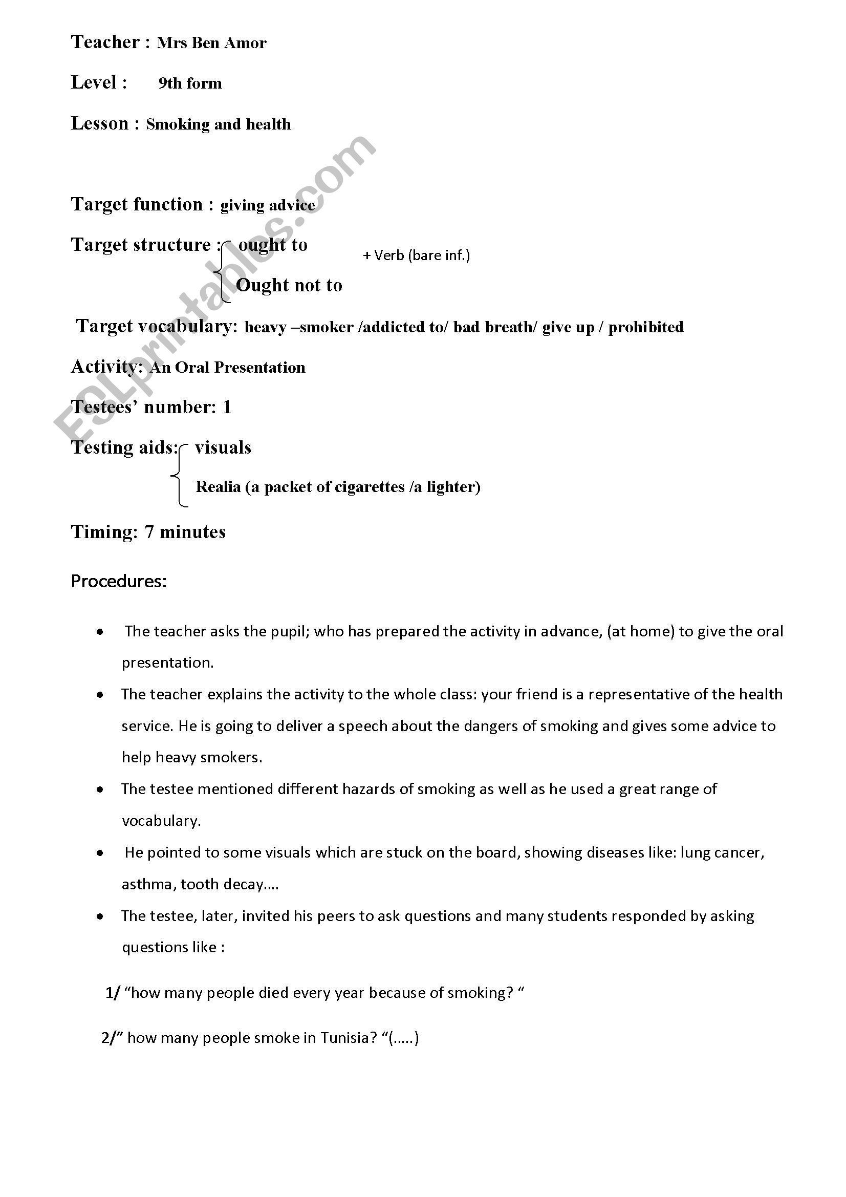 English Worksheets Smoking And Health