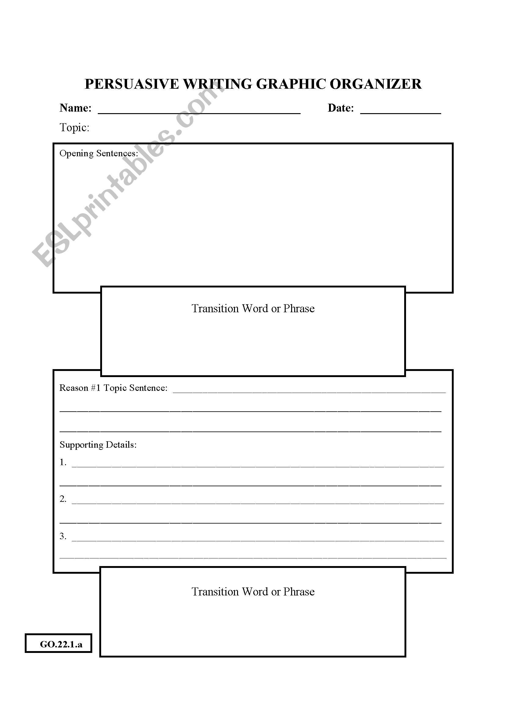 English Worksheets Persuasive Writing Graphic Organizers
