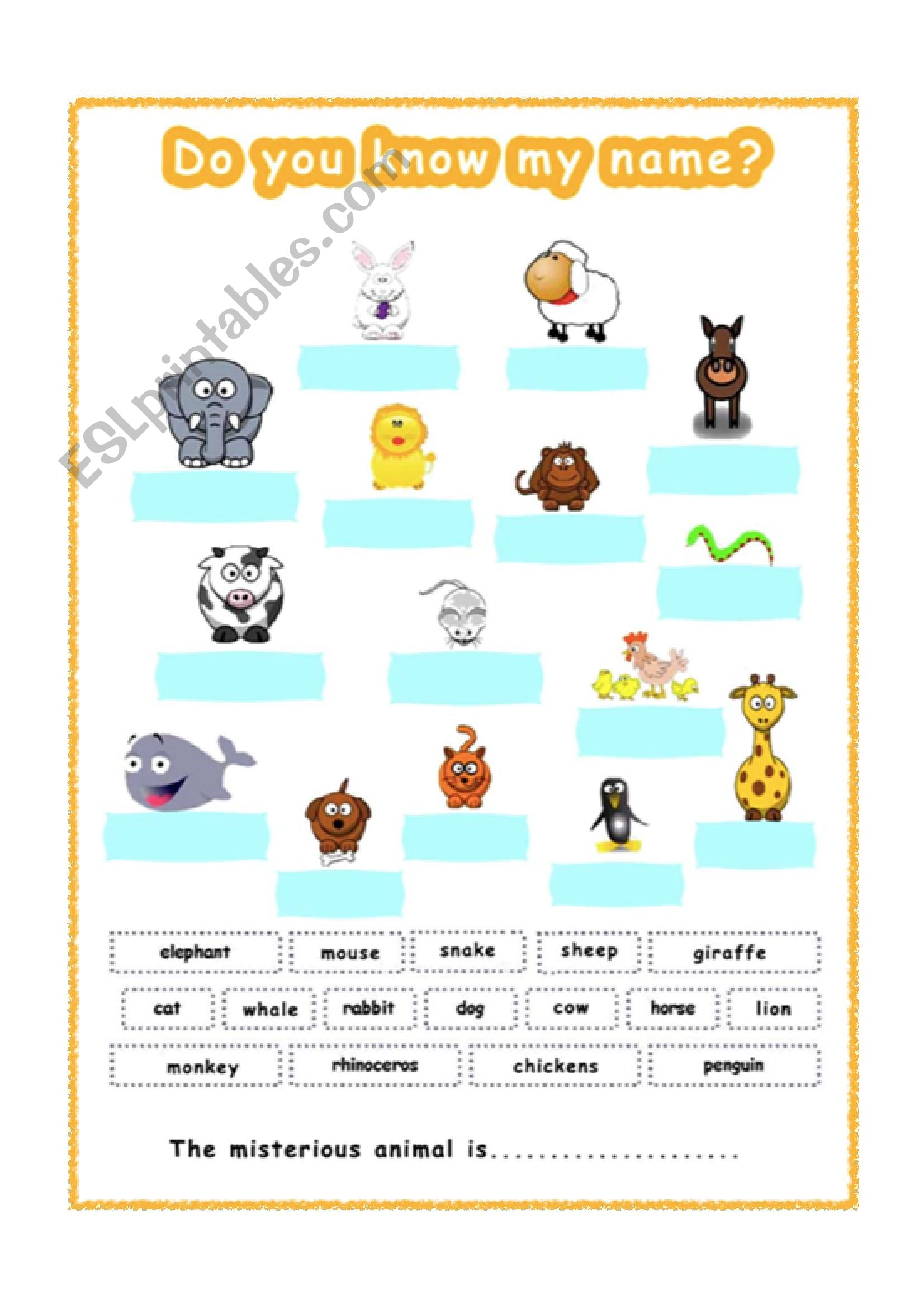 English Worksheets Animals For Gese Grade 1 2