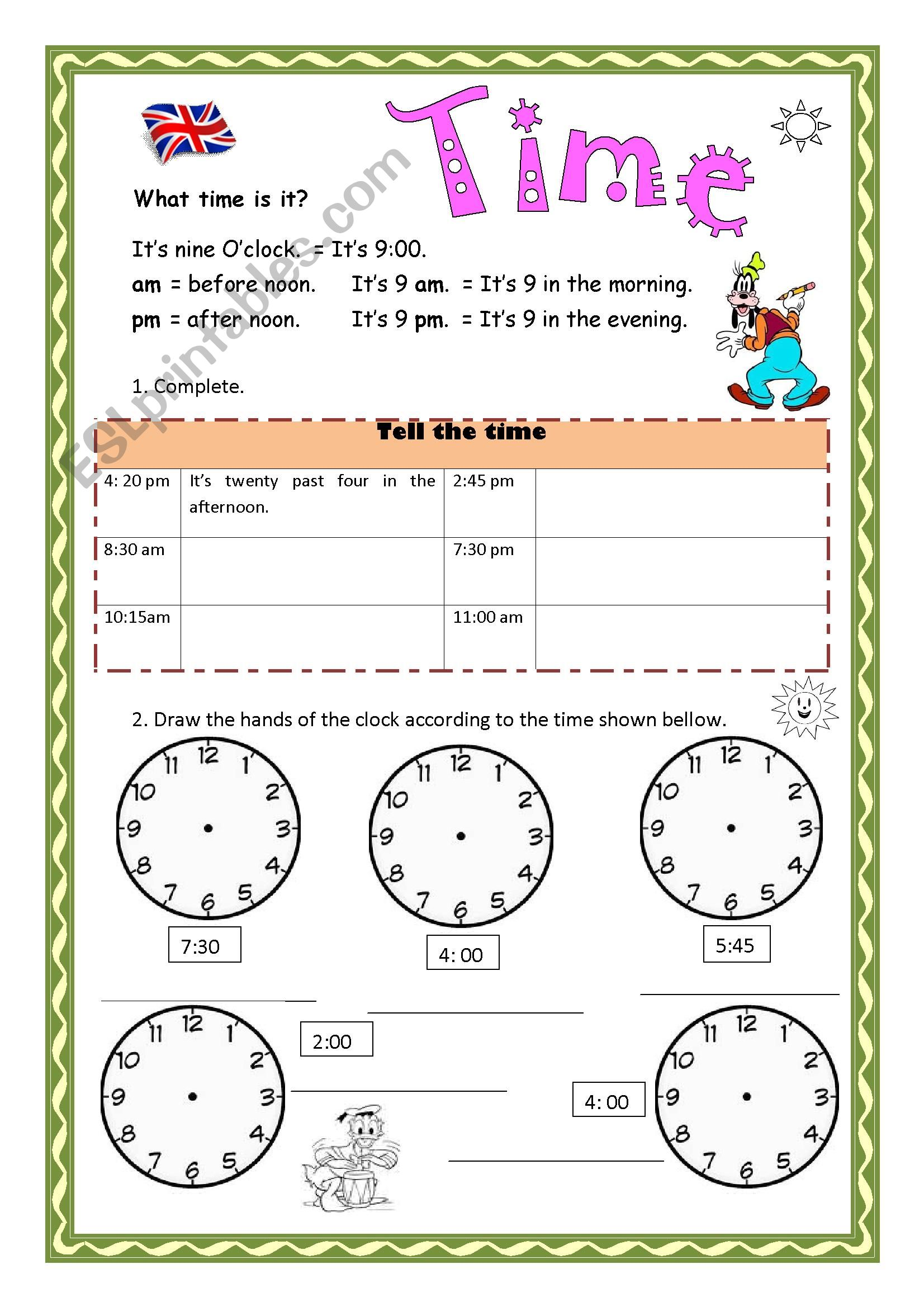 Clock Time Worksheets