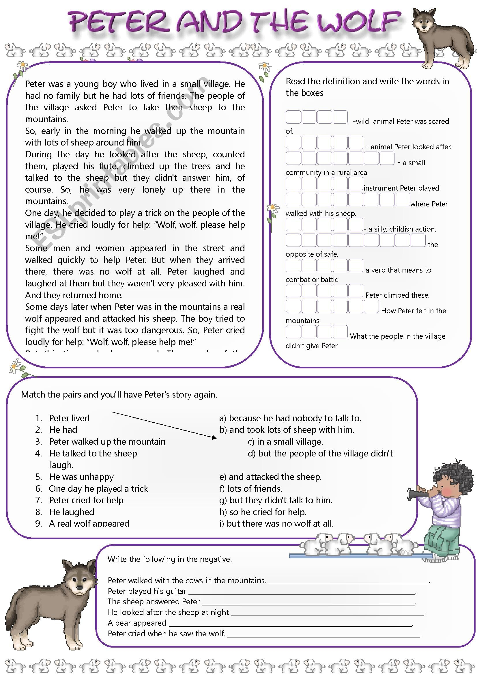 Printable Peter And The Wolf Worksheets